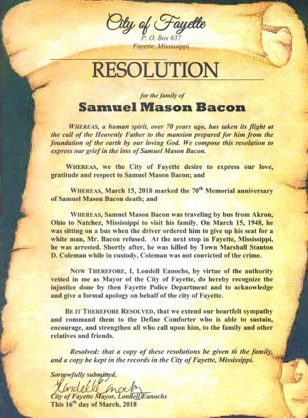 City of Fayette, RESOLUTION for the family of Samuel Mason Bacon