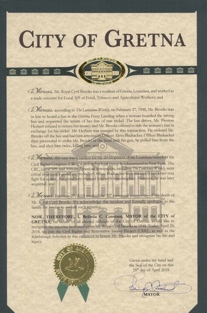 scanned copy of the City Resolution on Apr 28, 2018 with the city seal of Gretna