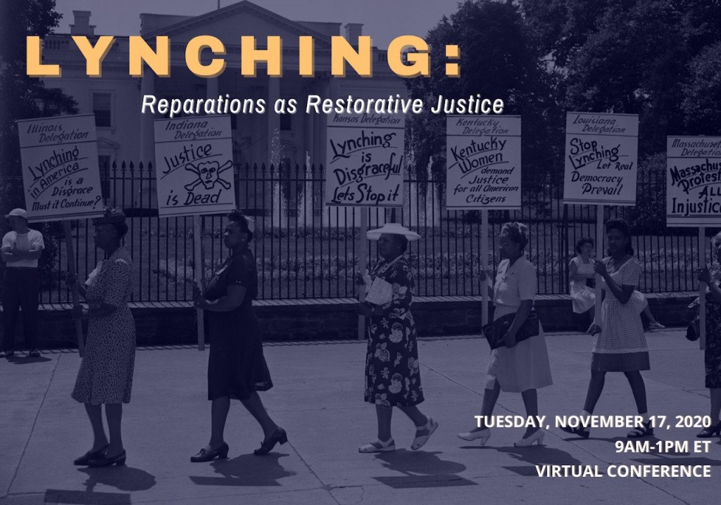 poster for the conference Lynching: Reparations as Restorative Justice