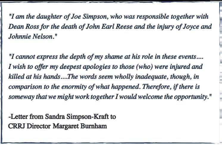 Transcript of a letter written by Sandra Simpson-Kraft
