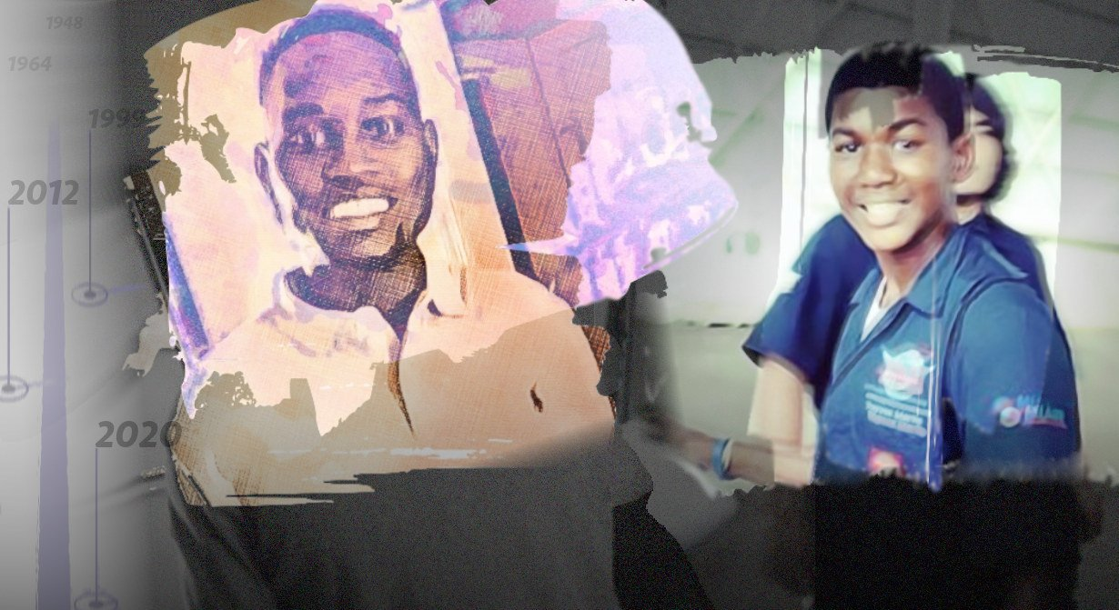 an artistic montage of a photo of Ahmaud Arbery and another of Trayvon Martin, both smiling in life